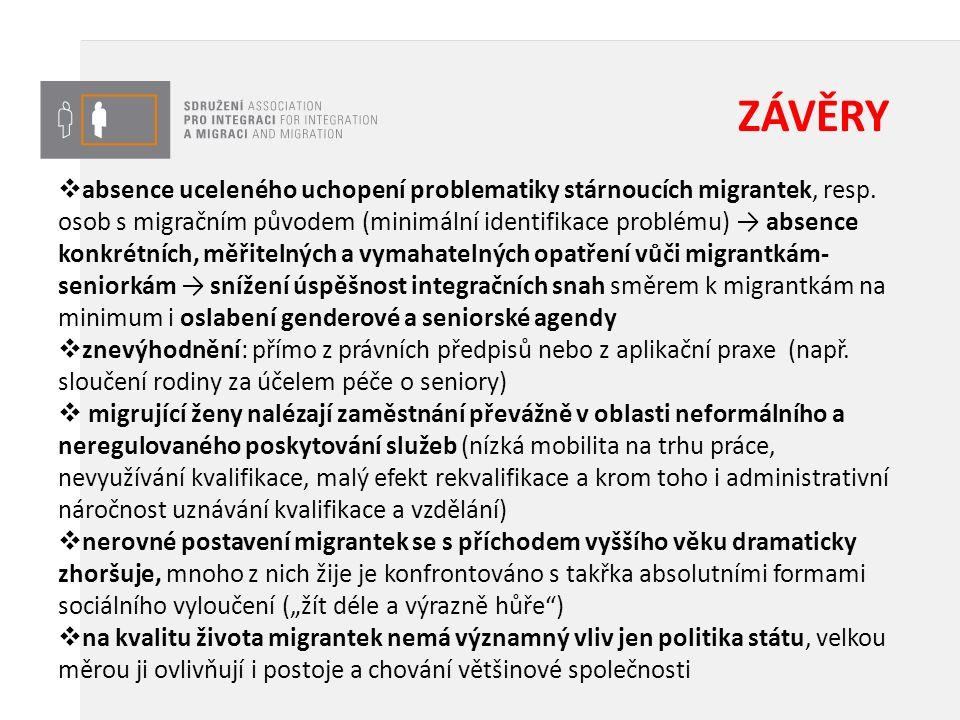 VELMI MÍRNÝ POZITIVNÍ POSUN  K částečnému zlepšení práv migrantek postupem času dochází (ovšem pomalu a nedostatečně)  Obtížné postavení migrantek seniorek si odpovědné orgány postupně začínají uvědomovat (viz část agendy vlády ČR, spadající pod Úřad vlády či pod ministerstvo pro lidská práva, rovné příležitosti a legislativu (včetně činnosti pracovních a poradních orgánů), činnost kanceláře veřejného ochránce práv a stávající ombudsmanky, částečně i aktivity MPSV a MV ČR.