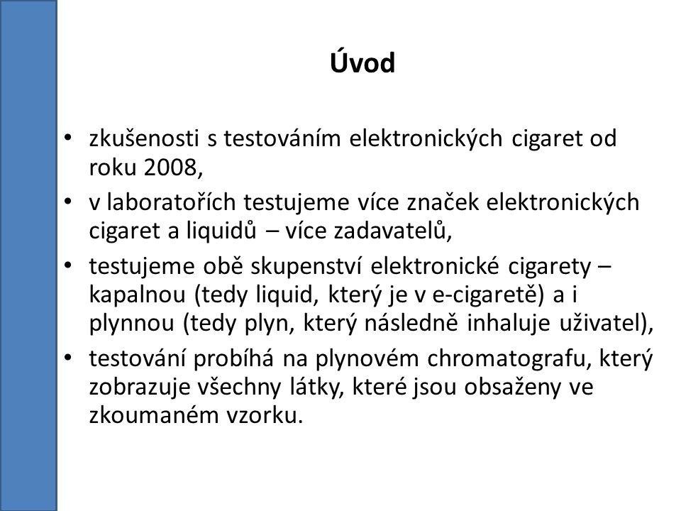 Úvod zkušenosti s testováním elektronických cigaret od roku 2008, v laboratořích testujeme více značek elektronických cigaret a liquidů – více zadavatelů, testujeme obě skupenství elektronické cigarety – kapalnou (tedy liquid, který je v e-cigaretě) a i plynnou (tedy plyn, který následně inhaluje uživatel), testování probíhá na plynovém chromatografu, který zobrazuje všechny látky, které jsou obsaženy ve zkoumaném vzorku.