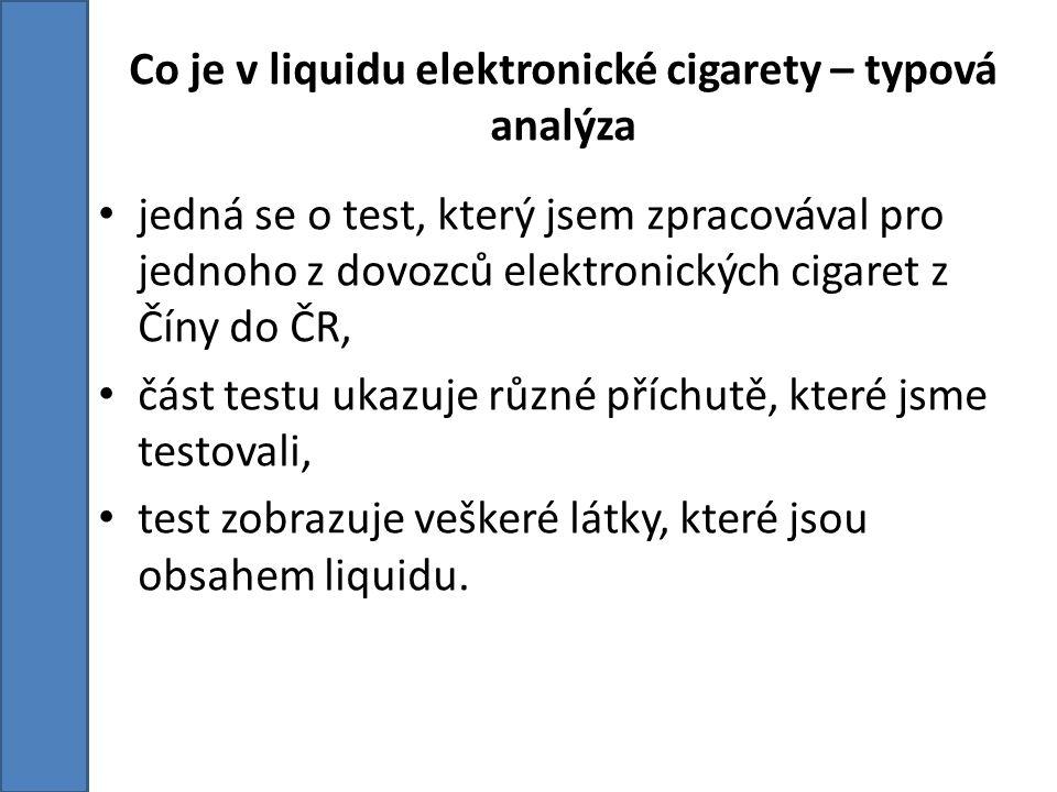 Co je v liquidu elektronické cigarety – typová analýza jedná se o test, který jsem zpracovával pro jednoho z dovozců elektronických cigaret z Číny do ČR, část testu ukazuje různé příchutě, které jsme testovali, test zobrazuje veškeré látky, které jsou obsahem liquidu.