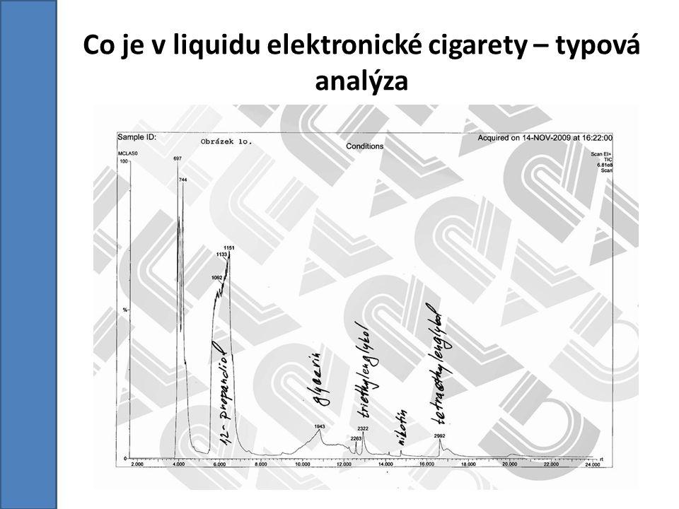 Co je v liquidu elektronické cigarety – všeobecný výstup z testování liquid obsahuje z nejpodstatnější části propylenglycol či glycerol (poměr těchto látek bývá různý, dle toho co jaký výrobce preferuje), další částí, jedná-li se o nikotinovou směs, tak je nikotin, zbývající látky jsou většinou ve stopovém množství a jedná se o látky, které tvoří aroma směsi.
