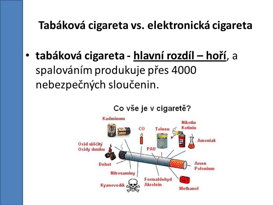 Tabáková cigareta vs. elektronická cigareta tabáková cigareta - hlavní rozdíl – hoří, a spalováním produkuje přes 4000 nebezpečných sloučenin.