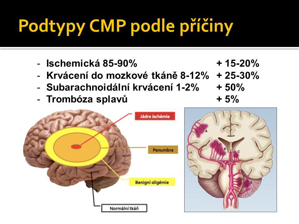 Podtypy CMP podle příčiny -Ischemická 85-90%+ 15-20% -Krvácení do mozkové tkáně 8-12%+ 25-30% -Subarachnoidální krvácení 1-2% + 50% -Trombóza splavů+ 5%
