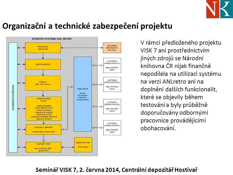 Organizační a technické zabezpečení projektu V rámci předloženého projektu VISK 7 ani prostřednictvím jiných zdrojů se Národní knihovna ČR nijak finančně nepodílela na utilizaci systému na verzi ANLretro ani na doplnění dalších funkcionalit, které se objevily během testování a byly průběžně doporučovány odbornými pracovnice provádějícími obohacování.