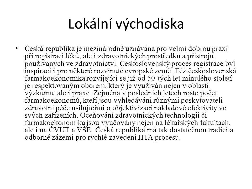 Lokální východiska Česká republika je mezinárodně uznávána pro velmi dobrou praxi při registraci léků, ale i zdravotnických prostředků a přístrojů, používaných ve zdravotnictví.