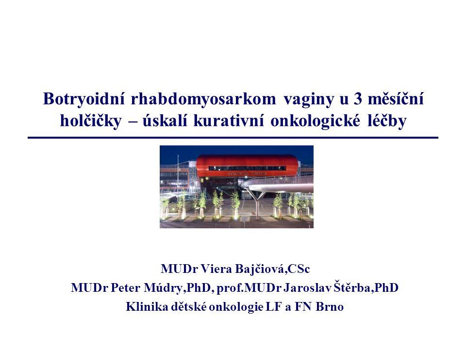 Principy léčby non-ovariálních nádorů u dětí Vzhledem k raritnímu výskytu nutná centralizace péče do dětských onkologických center (Praha, Brno) Multioborová spolupráce je nutná Léčba: snaha o maximálně konzervativní postup dle mezinárodních protokolů a guidelines Outcome:- záleží na typu nádoru a rozsahu nemoci - RMS excelentní 5 let OS – 91%, EFS – 80%