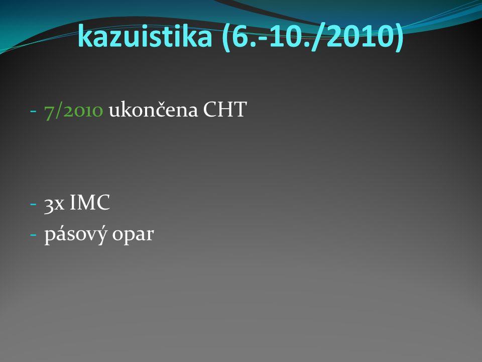 kazuistika (6.-10./2010) - 7/2010 ukončena CHT - 3x IMC - pásový opar