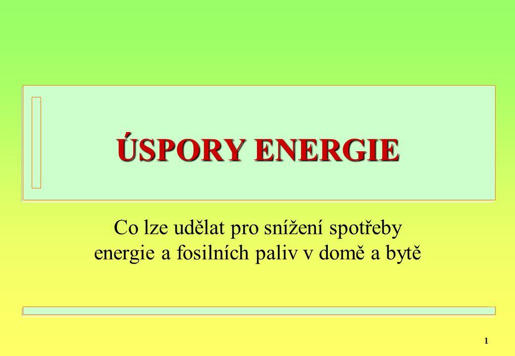 11 ÚSPORY ENERGIE Co lze udělat pro snížení spotřeby energie a fosilních paliv v domě a bytě