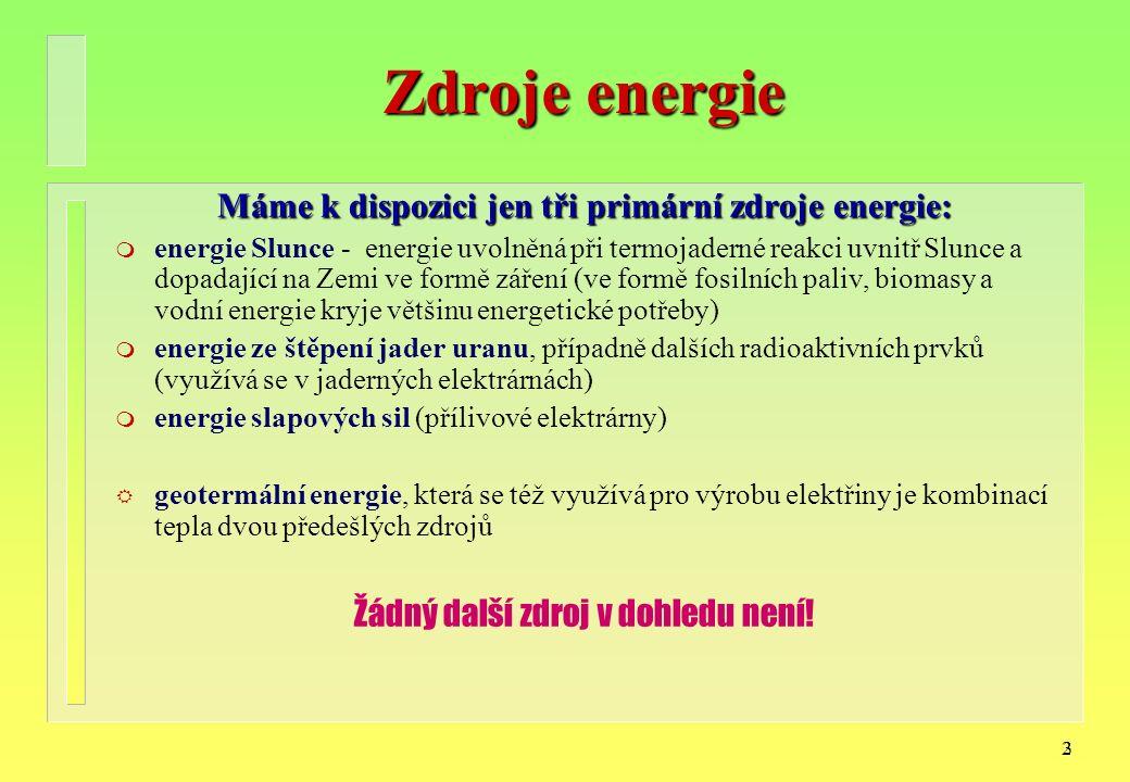 23 Zdroje energie Máme k dispozici jen tři primární zdroje energie: m energie Slunce - energie uvolněná při termojaderné reakci uvnitř Slunce a dopadající na Zemi ve formě záření (ve formě fosilních paliv, biomasy a vodní energie kryje většinu energetické potřeby) m energie ze štěpení jader uranu, případně dalších radioaktivních prvků (využívá se v jaderných elektrárnách) m energie slapových sil (přílivové elektrárny) R geotermální energie, která se též využívá pro výrobu elektřiny je kombinací tepla dvou předešlých zdrojů Žádný další zdroj v dohledu není!