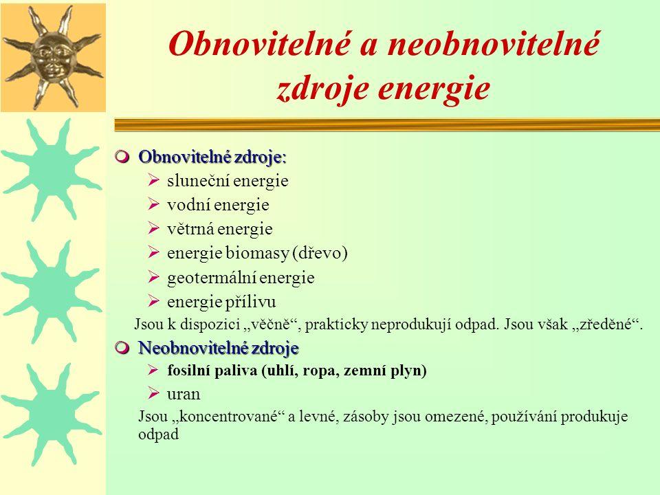 """Obnovitelné a neobnovitelné zdroje energie m Obnovitelné zdroje:  sluneční energie  vodní energie  větrná energie  energie biomasy (dřevo)  geotermální energie  energie přílivu Jsou k dispozici """"věčně , prakticky neprodukují odpad."""