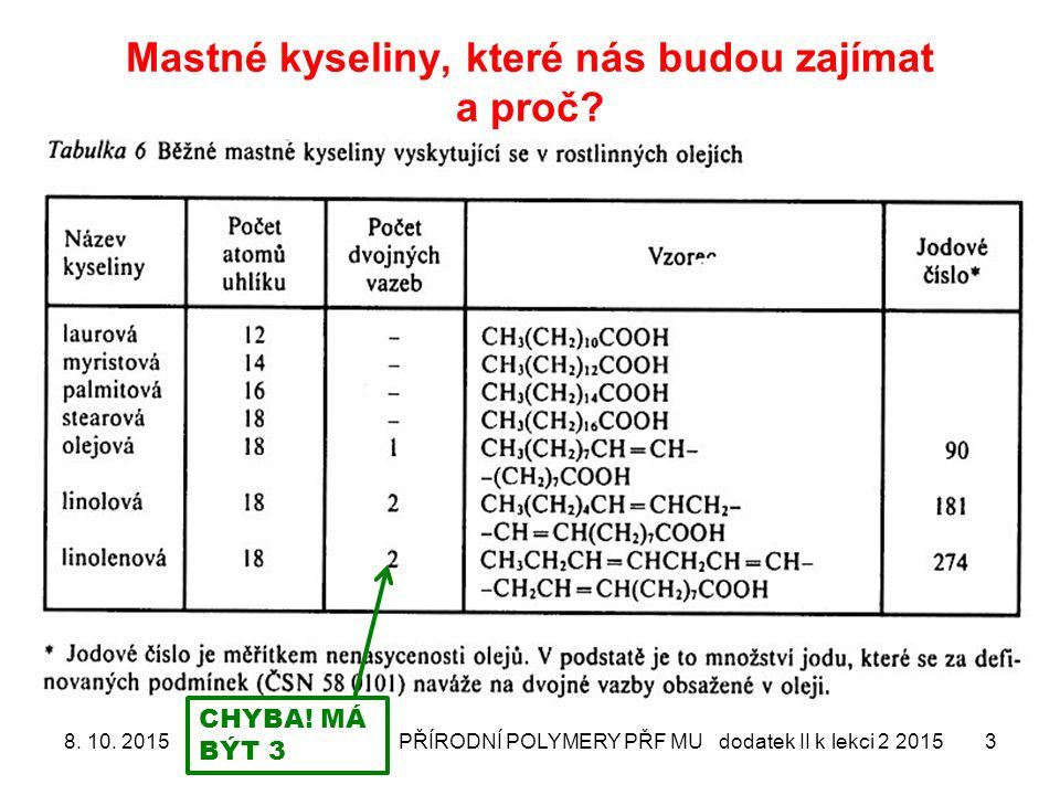 Mastné kyseliny, které nás budou zajímat a proč? 8. 10. 2015PŘÍRODNÍ POLYMERY PŘF MU dodatek II k lekci 2 20153 CHYBA! MÁ BÝT 3