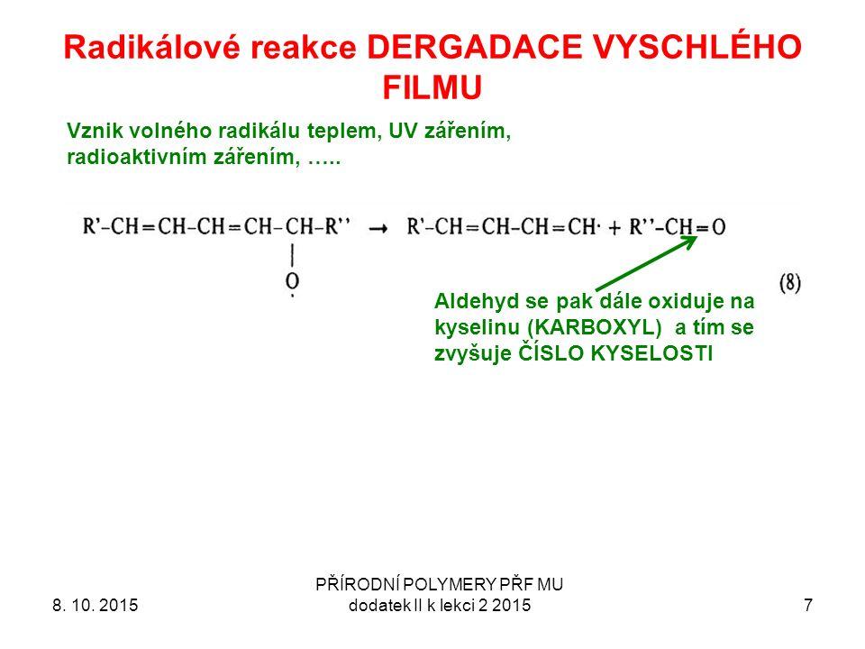 Radikálové reakce DERGADACE VYSCHLÉHO FILMU 8. 10. 2015 PŘÍRODNÍ POLYMERY PŘF MU dodatek II k lekci 2 2015 7 Vznik volného radikálu teplem, UV zářením