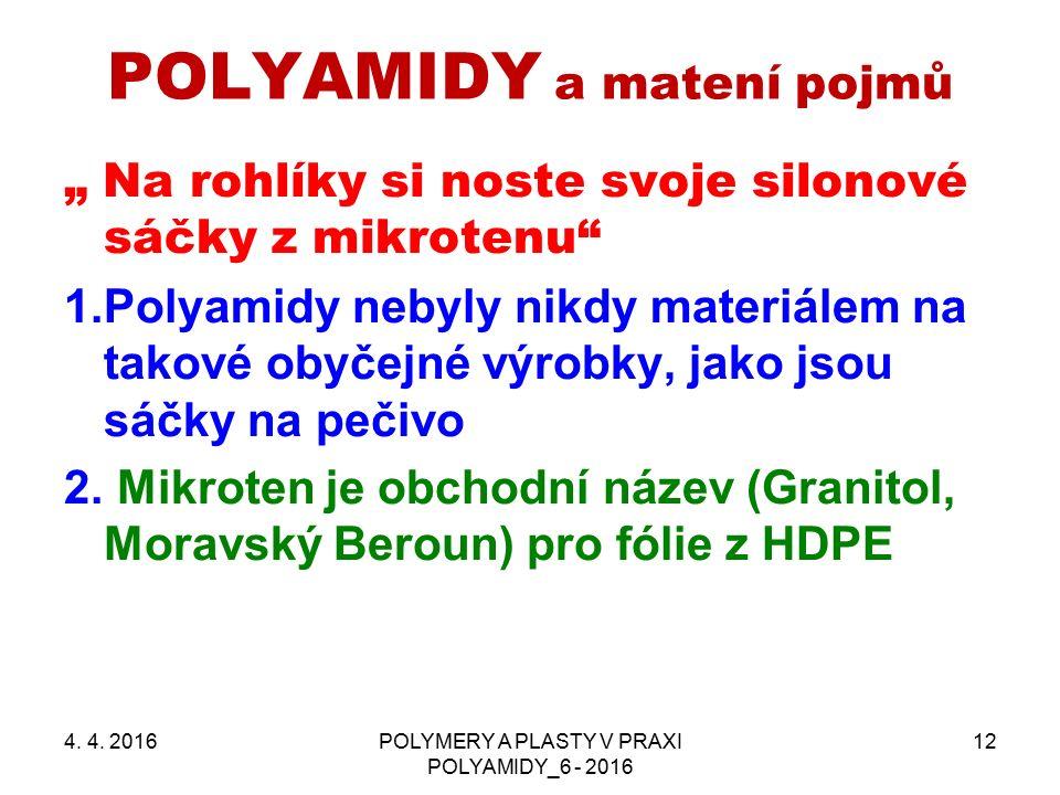"""POLYAMIDY a matení pojmů """" Na rohlíky si noste svoje silonové sáčky z mikrotenu"""" 1.Polyamidy nebyly nikdy materiálem na takové obyčejné výrobky, jako"""