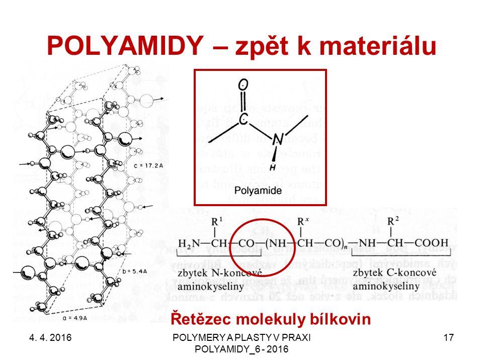 POLYAMIDY – zpět k materiálu 4. 4. 2016POLYMERY A PLASTY V PRAXI POLYAMIDY_6 - 2016 17 Řetězec molekuly bílkovin