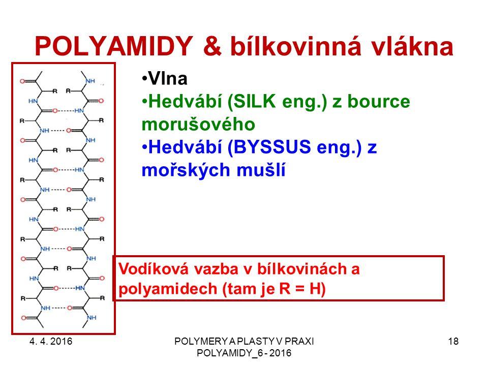 POLYAMIDY & bílkovinná vlákna 4. 4. 2016POLYMERY A PLASTY V PRAXI POLYAMIDY_6 - 2016 18 Vlna Hedvábí (SILK eng.) z bource morušového Hedvábí (BYSSUS e