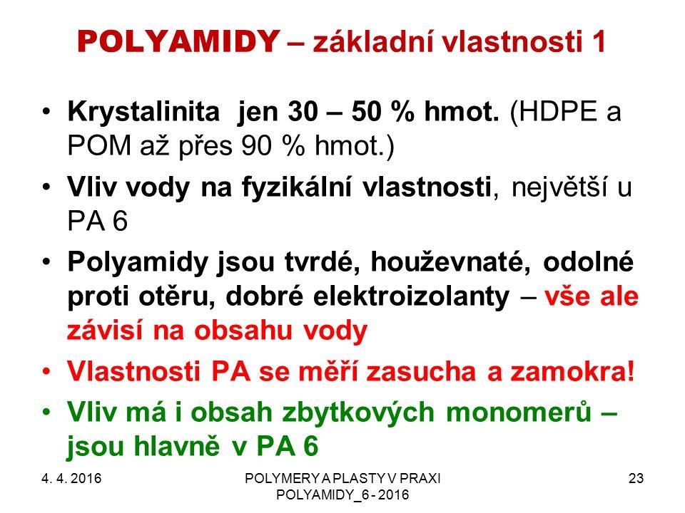 POLYAMIDY – základní vlastnosti 1 4. 4. 2016POLYMERY A PLASTY V PRAXI POLYAMIDY_6 - 2016 23 Krystalinita jen 30 – 50 % hmot. (HDPE a POM až přes 90 %