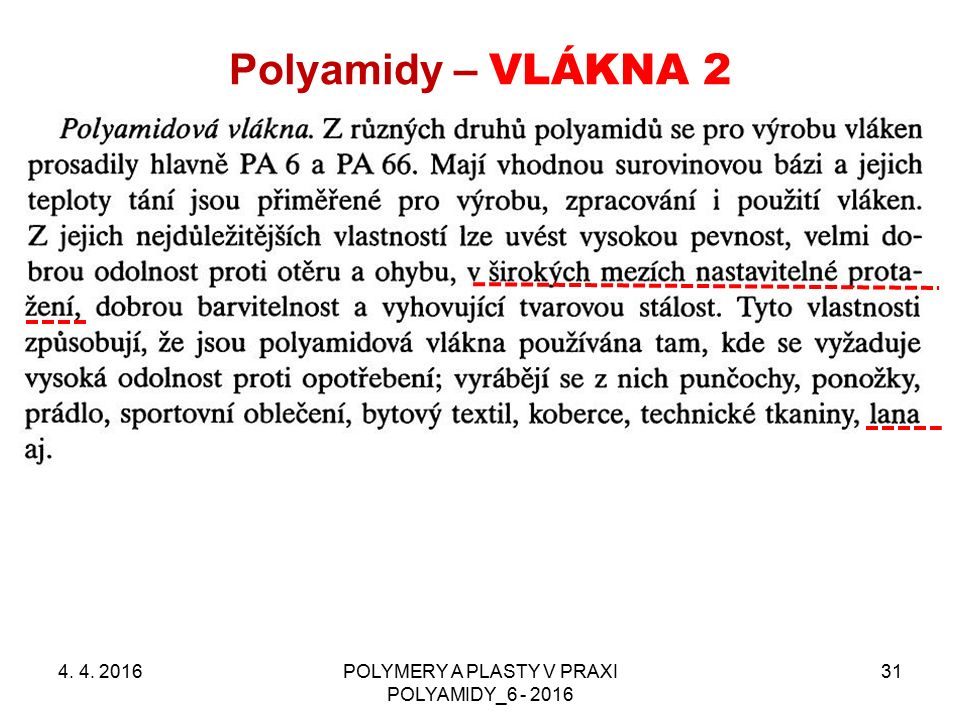 Polyamidy – VLÁKNA 2 4. 4. 2016POLYMERY A PLASTY V PRAXI POLYAMIDY_6 - 2016 31