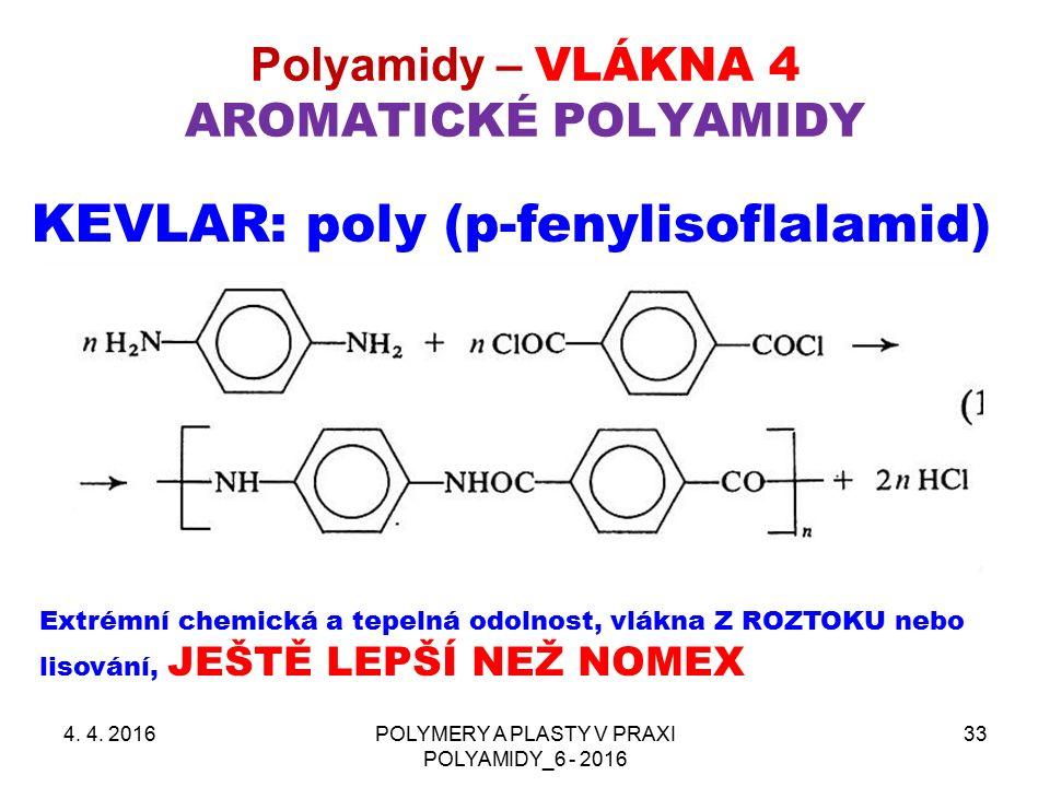 Polyamidy – VLÁKNA 4 AROMATICKÉ POLYAMIDY 4. 4.