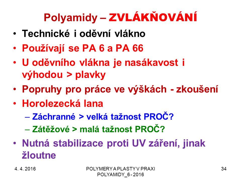 Polyamidy – ZVLÁKŇOVÁNÍ 4. 4. 2016POLYMERY A PLASTY V PRAXI POLYAMIDY_6 - 2016 34 Technické i oděvní vlákno Používají se PA 6 a PA 66 U oděvního vlákn