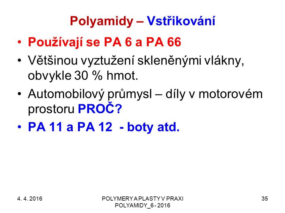 Polyamidy – Vstřikování 4. 4. 2016POLYMERY A PLASTY V PRAXI POLYAMIDY_6 - 2016 35 Používají se PA 6 a PA 66 Většinou vyztužení skleněnými vlákny, obvy