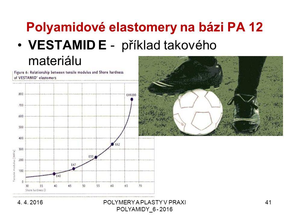Polyamidové elastomery na bázi PA 12 VESTAMID E - příklad takového materiálu 4. 4. 2016POLYMERY A PLASTY V PRAXI POLYAMIDY_6 - 2016 41
