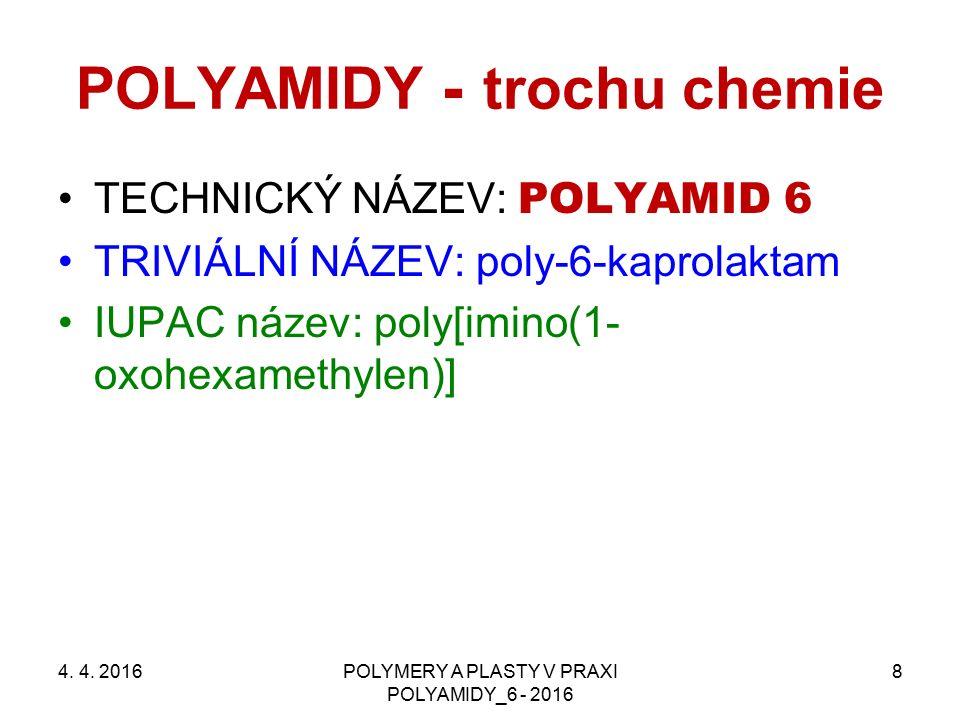 POLYAMIDY - trochu chemie TECHNICKÝ NÁZEV: POLYAMID 6 TRIVIÁLNÍ NÁZEV: poly-6-kaprolaktam IUPAC název: poly[imino(1- oxohexamethylen)] 4. 4. 2016POLYM