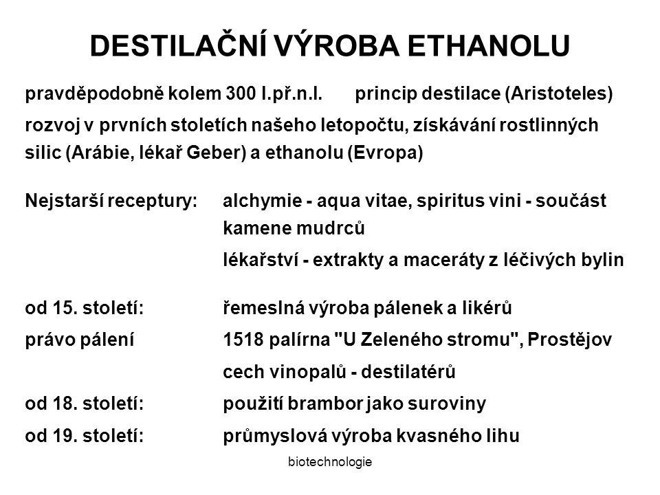 biotechnologie DESTILAČNÍ VÝROBA ETHANOLU pravděpodobně kolem 300 l.př.n.l.princip destilace (Aristoteles) rozvoj v prvních stoletích našeho letopočtu, získávání rostlinných silic (Arábie, lékař Geber) a ethanolu (Evropa) Nejstarší receptury:alchymie - aqua vitae, spiritus vini - součást kamene mudrců lékařství - extrakty a maceráty z léčivých bylin od 15.