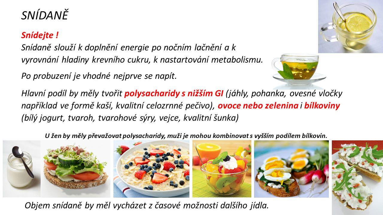 SNÍDANĚ Snídejte ! Snídaně slouží k doplnění energie po nočním lačnění a k vyrovnání hladiny krevního cukru, k nastartování metabolismu. Po probuzení