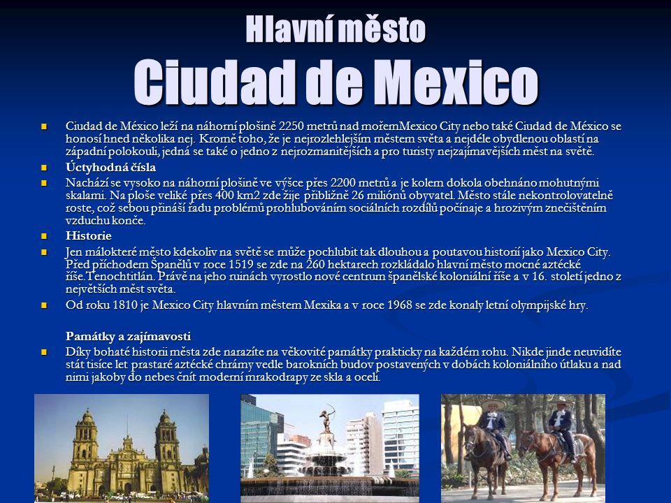Hlavní město Ciudad de Mexico Ciudad de México leží na náhorní plošině 2250 metrů nad mořemMexico City nebo také Ciudad de México se honosí hned někol
