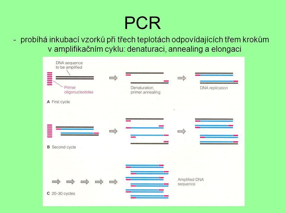 PCR - probíhá inkubací vzorků při třech teplotách odpovídajících třem krokům v amplifikačním cyklu: denaturaci, annealing a elongaci