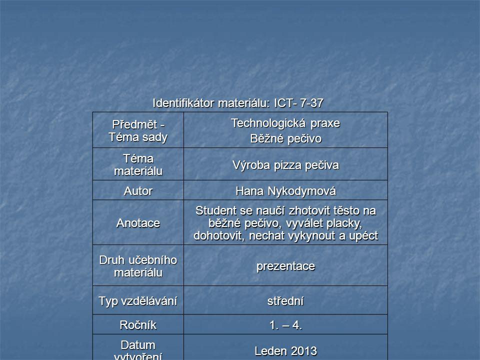 Identifikátor materiálu: ICT- 7-37 Předmět - Téma sady Technologická praxe Běžné pečivo Téma materiálu Výroba pizza pečiva Autor Hana Nykodymová Anota