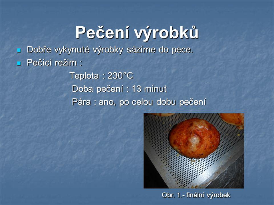 Pečení výrobků Dobře vykynuté výrobky sázíme do pece. Dobře vykynuté výrobky sázíme do pece. Pečící režim : Pečící režim : Teplota : 230°C Teplota : 2