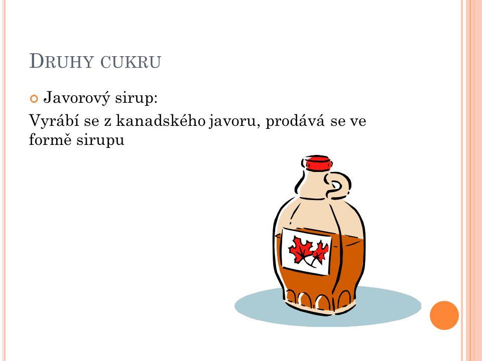 D RUHY CUKRU Javorový sirup: Vyrábí se z kanadského javoru, prodává se ve formě sirupu