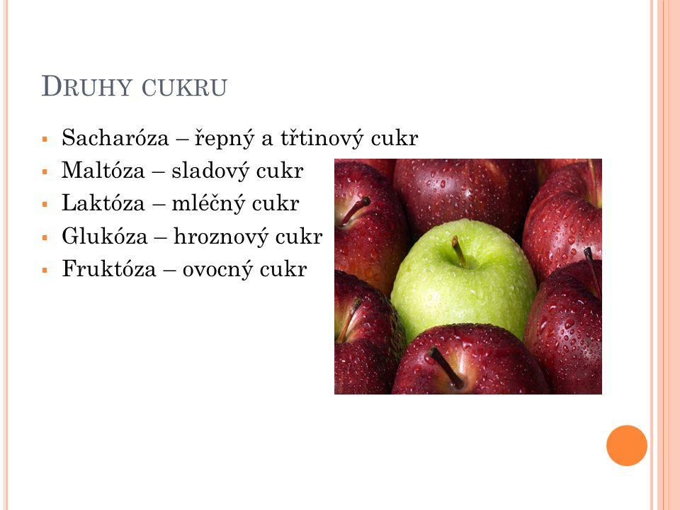 D RUHY CUKRU  Sacharóza – řepný a třtinový cukr  Maltóza – sladový cukr  Laktóza – mléčný cukr  Glukóza – hroznový cukr  Fruktóza – ovocný cukr