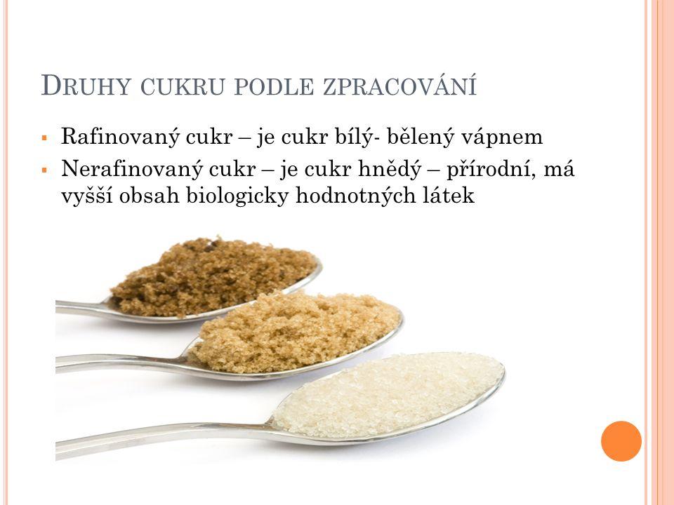 D RUHY CUKRU PODLE ZPRACOVÁNÍ  Rafinovaný cukr – je cukr bílý- bělený vápnem  Nerafinovaný cukr – je cukr hnědý – přírodní, má vyšší obsah biologicky hodnotných látek