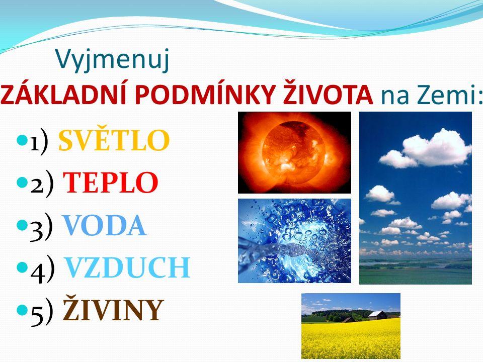 Vyjmenuj ZÁKLADNÍ PODMÍNKY ŽIVOTA na Zemi: 1) SVĚTLO 2) TEPLO 3) VODA 4) VZDUCH 5) ŽIVINY