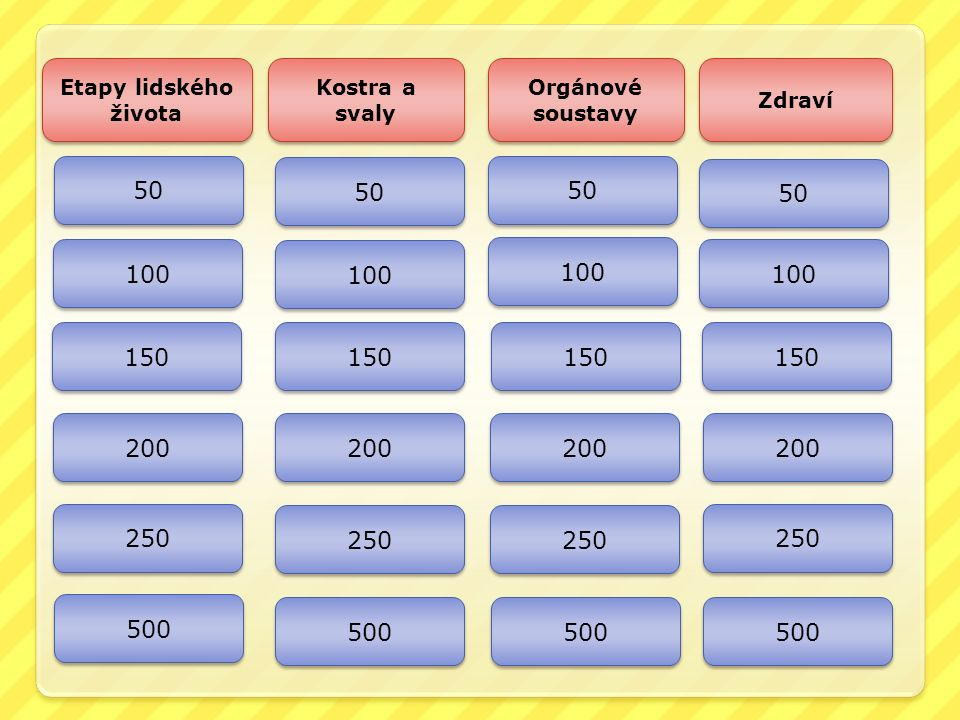 Etapy lidského života Kostra a svaly Orgánové soustavy Zdraví 50 100 150 200 250 500 50 100 150 200 250 500