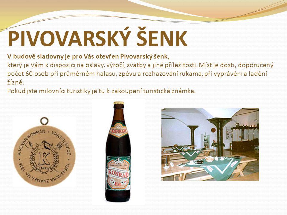 PIVOVARSKÝ ŠENK V budově sladovny je pro Vás otevřen Pivovarský šenk, který je Vám k dispozici na oslavy, výročí, svatby a jiné příležitosti. Míst je