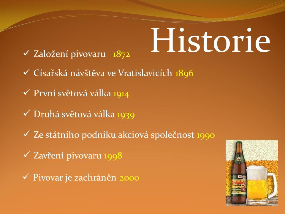 Založení pivovaru 1872 Císařská návštěva ve Vratislavicích 1896 První světová válka 1914 Druhá světová válka 1939 Ze státního podniku akciová společno