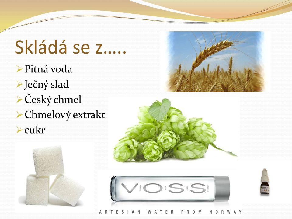 Skládá se z…..  Pitná voda  Ječný slad  Český chmel  Chmelový extrakt  cukr