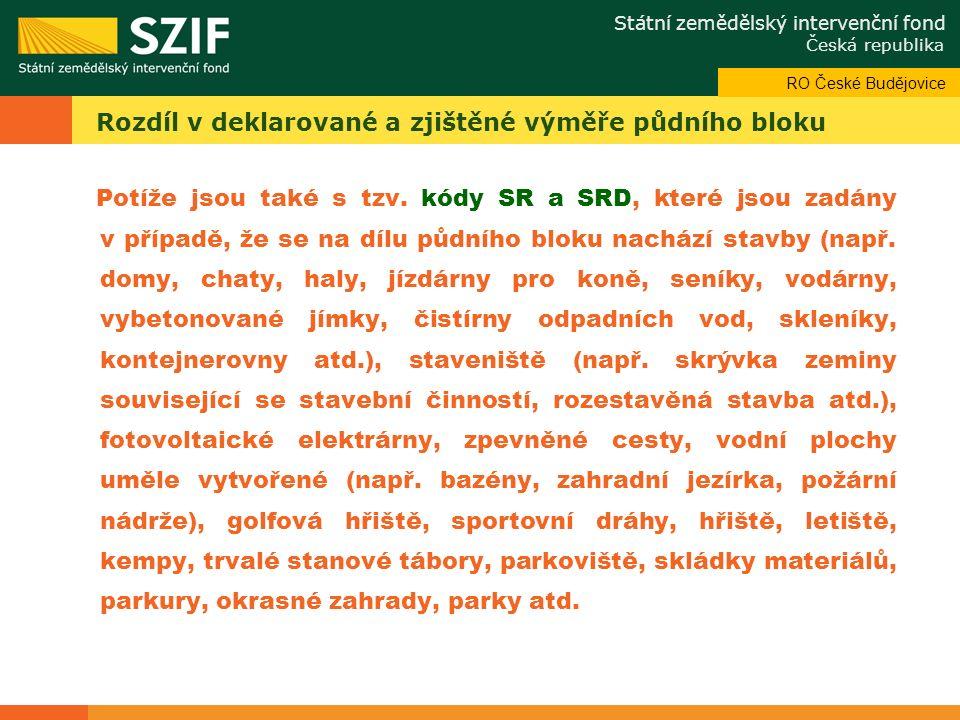 Státní zemědělský intervenční fond Česká republika Odbor systémové podpory Rozdíl v deklarované a zjištěné výměře půdního bloku Potíže jsou také s tzv.