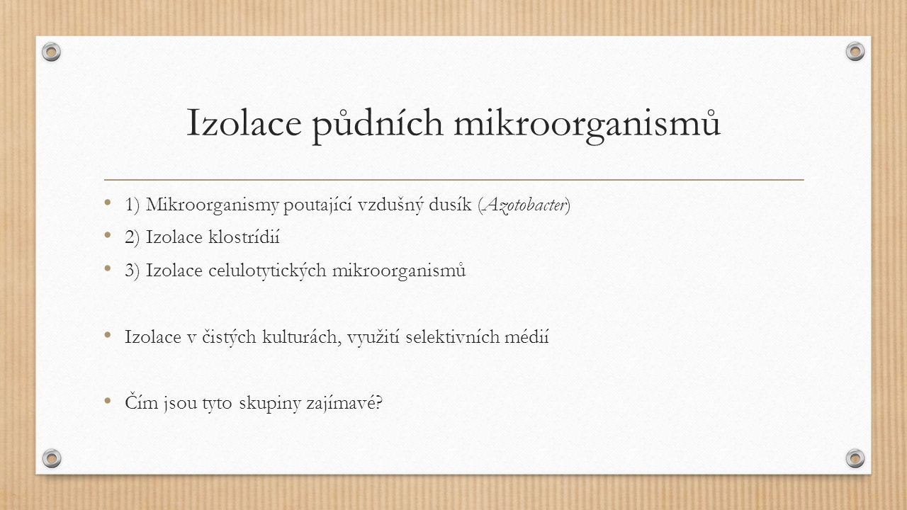 Izolace půdních mikroorganismů 1) Mikroorganismy poutající vzdušný dusík (Azotobacter) 2) Izolace klostrídií 3) Izolace celulotytických mikroorganismů Izolace v čistých kulturách, využití selektivních médií Čím jsou tyto skupiny zajímavé?
