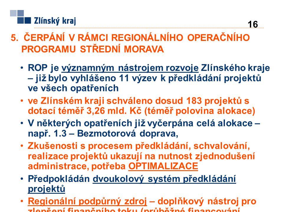 ROP je významným nástrojem rozvoje Zlínského kraje – již bylo vyhlášeno 11 výzev k předkládání projektů ve všech opatřeních ve Zlínském kraji schváleno dosud 183 projektů s dotací téměř 3,26 mld.