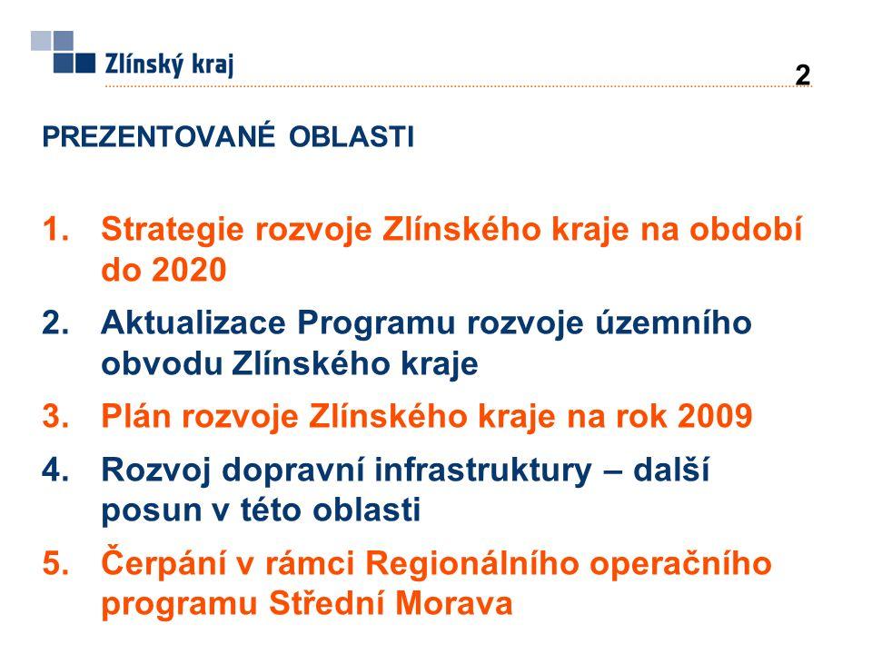 PREZENTOVANÉ OBLASTI 1.Strategie rozvoje Zlínského kraje na období do 2020 2.Aktualizace Programu rozvoje územního obvodu Zlínského kraje 3.Plán rozvoje Zlínského kraje na rok 2009 4.Rozvoj dopravní infrastruktury – další posun v této oblasti 5.Čerpání v rámci Regionálního operačního programu Střední Morava 2