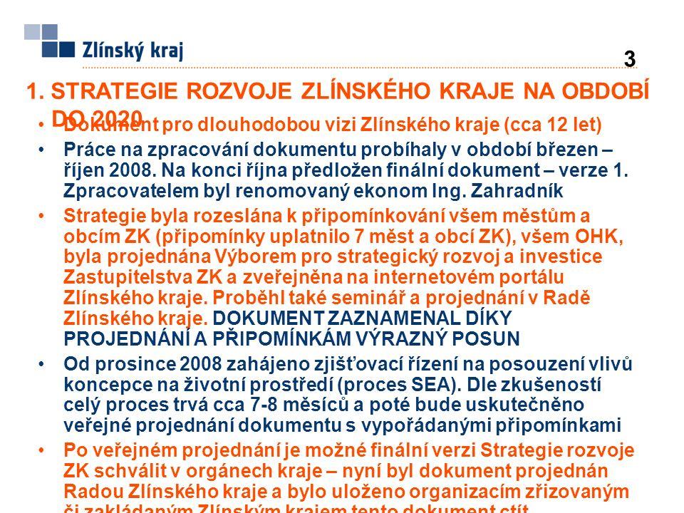 1. STRATEGIE ROZVOJE ZLÍNSKÉHO KRAJE NA OBDOBÍ DO 2020 3 Dokument pro dlouhodobou vizi Zlínského kraje (cca 12 let) Práce na zpracování dokumentu prob