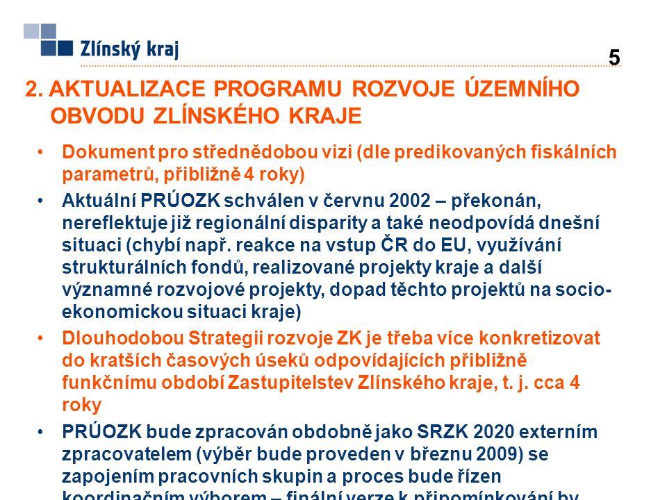 2. AKTUALIZACE PROGRAMU ROZVOJE ÚZEMNÍHO OBVODU ZLÍNSKÉHO KRAJE 5 Dokument pro střednědobou vizi (dle predikovaných fiskálních parametrů, přibližně 4
