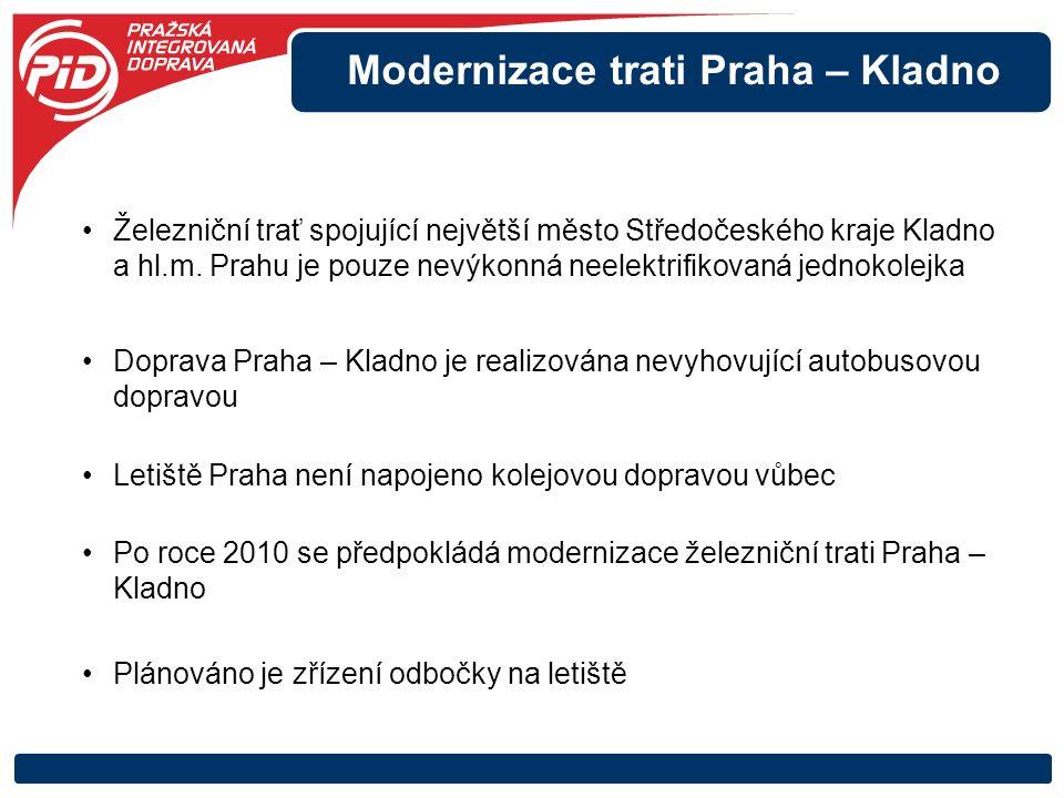 Modernizace trati Praha – Kladno Železniční trať spojující největší město Středočeského kraje Kladno a hl.m. Prahu je pouze nevýkonná neelektrifikovan