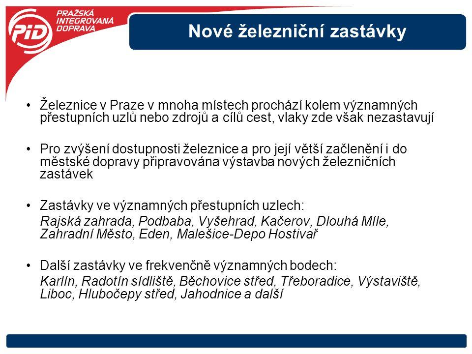 Nové železniční zastávky Železnice v Praze v mnoha místech prochází kolem významných přestupních uzlů nebo zdrojů a cílů cest, vlaky zde však nezastav