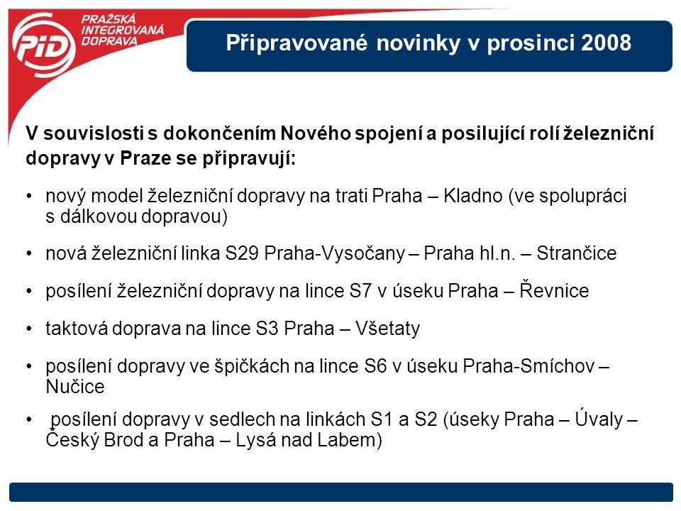 Připravované novinky v prosinci 2008 V souvislosti s dokončením Nového spojení a posilující rolí železniční dopravy v Praze se připravují: nový model