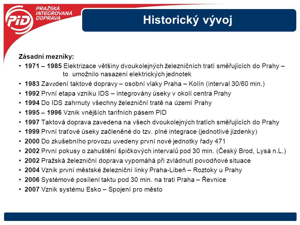 Historický vývoj Zásadní mezníky: 1971 – 1985 Elektrizace většiny dvoukolejných železničních tratí směřujících do Prahy – to umožnilo nasazení elektri