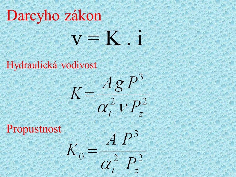 Darcyho zákon v = K. i Hydraulická vodivost Propustnost